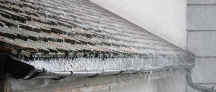 Rainwater Running Down Roof Tiles