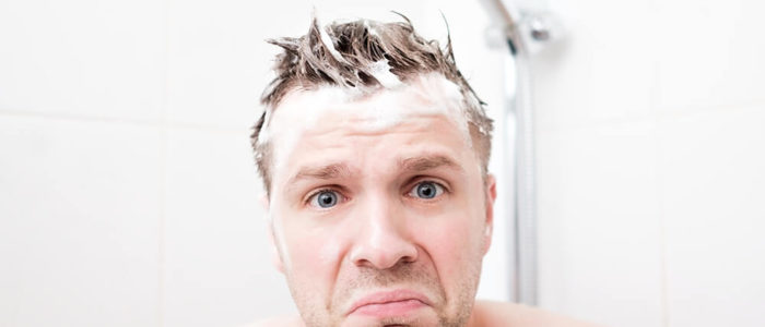 Unhappy Man in Shower