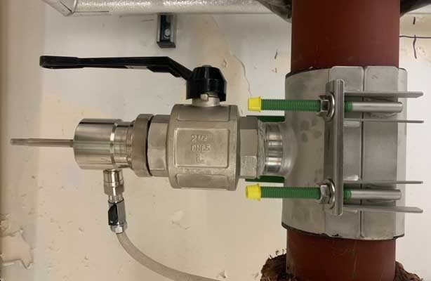 Installed Hot Tapping Connection